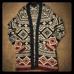 Forever21 Long Sleeve Tribal Print Cardigan